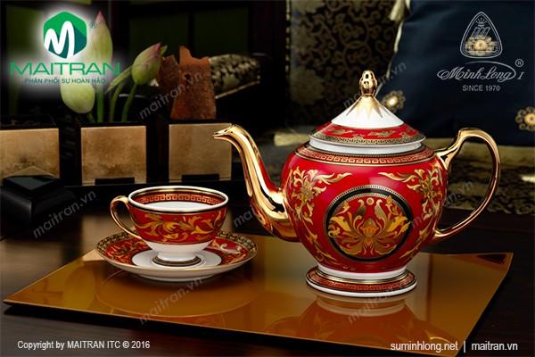 Bộ trà gốm sứ Minh Long Bộ trà 0.8L Hoàng Cung Quốc Sắc