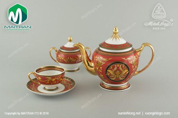 Bộ trà gốm sứ Minh Long Bộ trà 1.3L Hoàng Cung Quốc Sắc