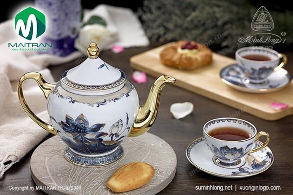 Bộ trà gốm sứ Minh Long Bộ 0.8L trà Hoàng Cung Sen Ngọc