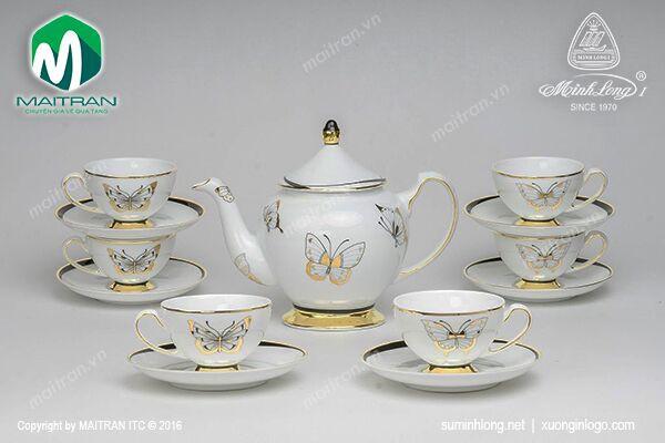 Bộ trà gốm sứ Minh Long Bộ trà 0.8L Hoàng Điệp