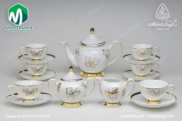 Bộ trà gốm sứ Minh Long Bộ trà 1.3L Hoàng Điệp