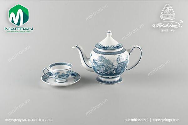 Bộ trà gốm sứ Minh Long Bộ trà 0.8L Hồn quê