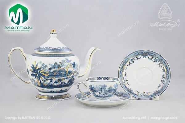 Bộ trà gốm sứ Minh Long Bộ trà  0.8L Hồn Quê vàng