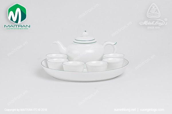 Bộ trà gốm sứ Minh Long Bộ trà  0.35L Jasmine chỉ xanh lá