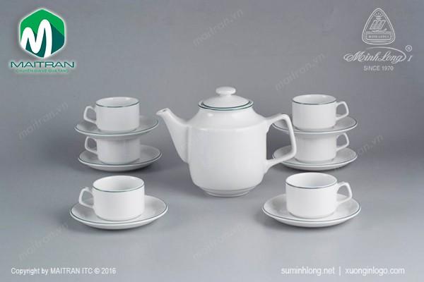 Bộ trà gốm sứ Minh Long Bộ trà  0.7L Jasmine chỉ xanh lá