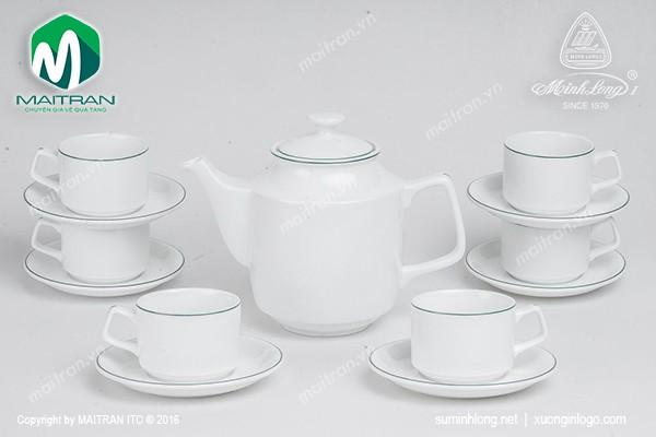 Bộ trà gốm sứ Minh Long Bộ trà 1.1L Jasmine chỉ xanh lá