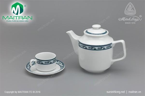 Bộ trà gốm sứ Minh Long Bộ trà  0.7L Jasmine Chim Lạc
