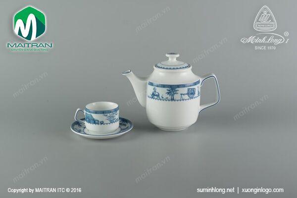 Bộ trà gốm sứ Minh Long Bộ trà 0.7L Jasmine Thôn Dã