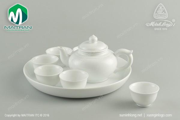 Bộ trà gốm sứ Minh Long Bộ trà 0.35L Jasmine trắng