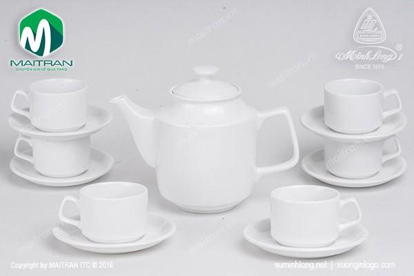 Bộ trà gốm sứ Minh Long Bộ trà 0.7L Jasmine trắng
