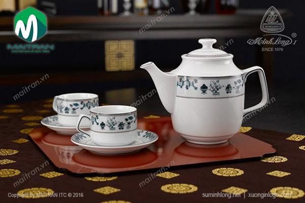 Bộ trà gốm sứ Minh Long Bộ trà  0.7L Jasmine Tứ Quý