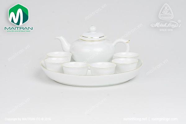 Bộ trà 0.35L Jasmine viền chỉ vàng