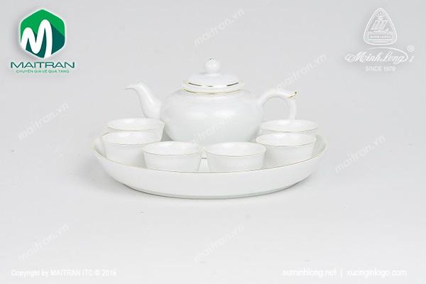 Bộ trà gốm sứ Minh Long Bộ trà 0.35L Jasmine viền chỉ vàng