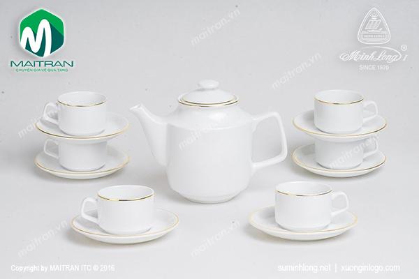 Bộ trà 0.7L Jasmine viền chỉ vàng