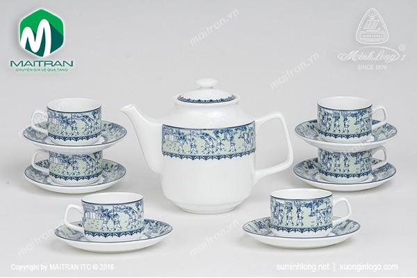 Bộ trà gốm sứ Minh Long Bộ trà 0.7L Jasmine Vinh Quy Nhạt