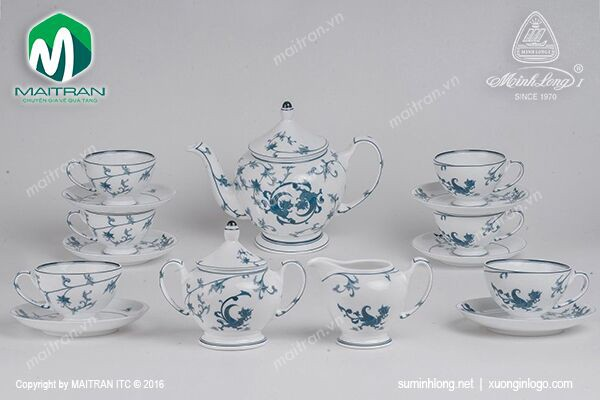 Bộ trà gốm sứ Minh Long Bộ trà 1.3L Lạc Hồng