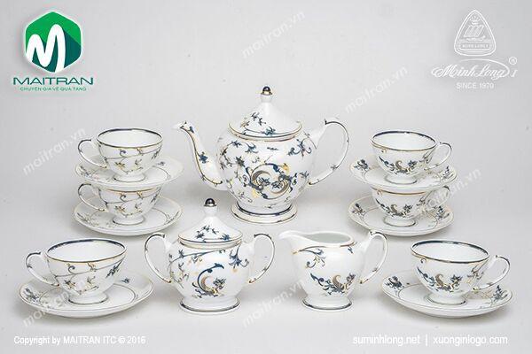 Bộ trà gốm sứ Minh Long Bộ trà 1.3L Lạc Hồng vàng