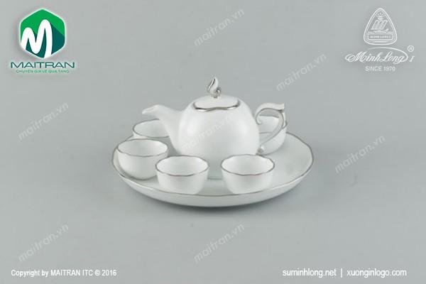 Bộ trà gốm sứ Minh Long Bộ trà 0.3L Mẫu Đơn IFP chỉ bạch kim