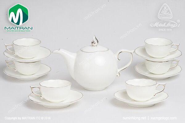 Bộ trà gốm sứ Minh Long Bộ trà 0.7L Mẫu đơn IFP Chỉ bạch kim