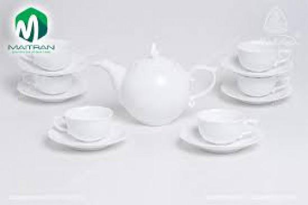 Bộ trà gốm sứ Minh Long Bộ trà  0.7L Mẫu Đơn IFP Trắng