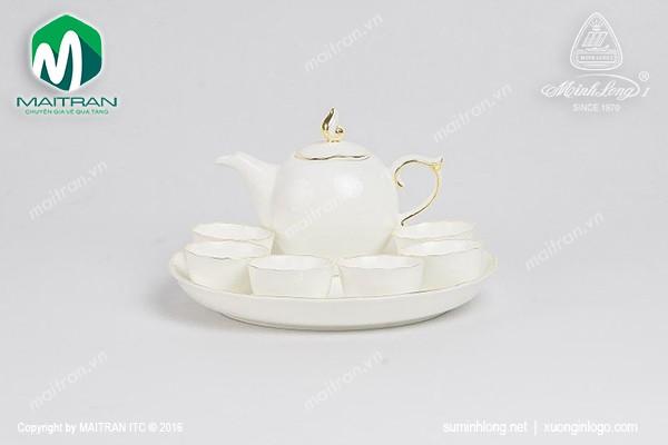 Bộ trà gốm sứ Minh Long Bộ trà  0.3L Mẫu Đơn IFP viền chỉ vàng