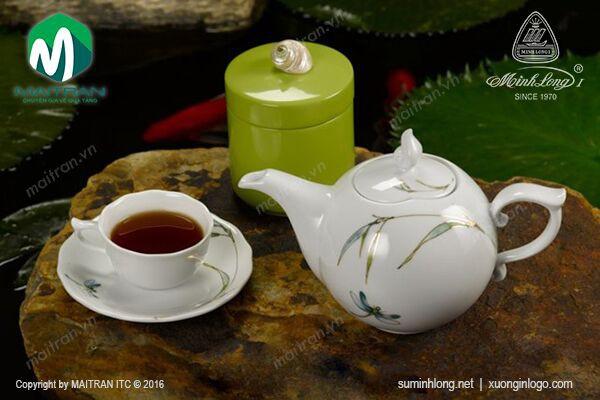 Bộ trà gốm sứ Minh Long Bộ trà 0.7L Mẫu Đơn Thanh Trúc