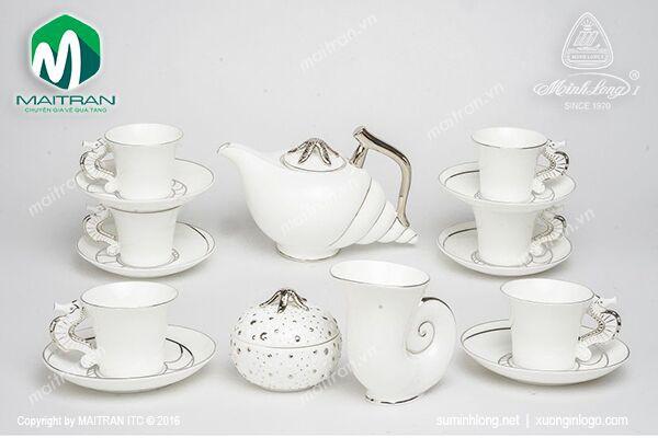 Bộ trà gốm sứ Minh Long Bộ trà 1.2L Ngọc Biển Chỉ Bạch Kim
