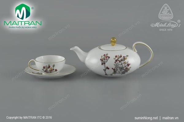 Bộ trà gốm sứ Minh Long Bộ trà 0.47L Elip Như Ý
