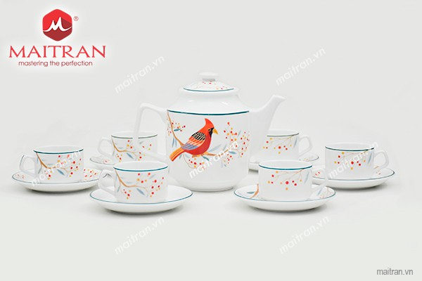 Bộ trà gốm sứ Minh Long Bộ trà 0.7L Jasmine Quả Đầu Mùa
