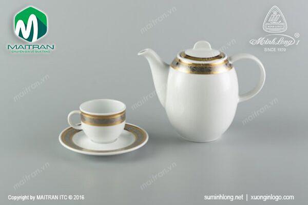 Bộ trà gốm sứ Minh Long Bộ trà 0.8L Sago Hoa Hồng