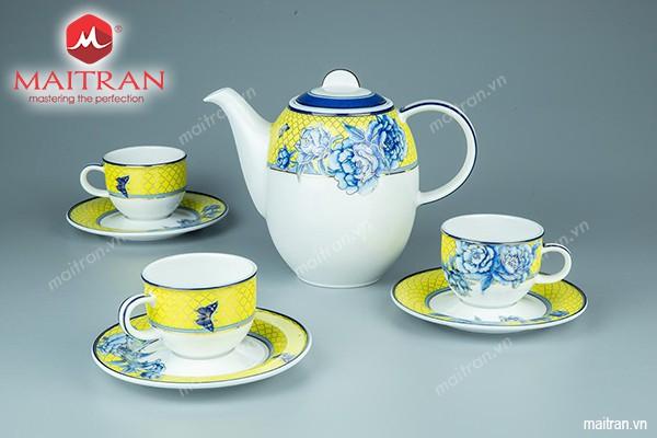 Bộ trà gốm sứ Minh Long Bộ trà 0.8L Mẫu Đơn Vàng