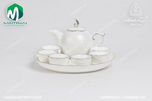 Bộ trà gốm sứ Minh Long Bộ trà 0.3L Sen IFP chỉ bạch kim