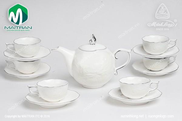 Bộ trà gốm sứ Minh Long Bộ trà 0.7L Sen IFP chỉ bạch kim