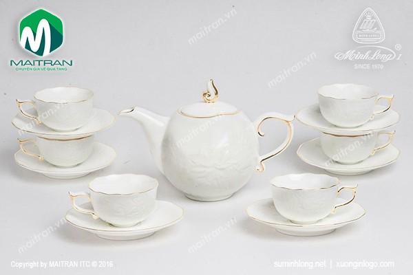 Bộ trà gốm sứ Minh Long Bộ trà 0.7L Sen IFP viền chỉ vàng