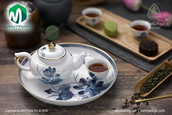Bộ trà gốm sứ Minh Long Bộ trà 0.35L Sen Vàng