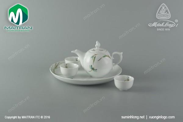 Bộ trà gốm sứ Minh Long Bộ trà 0.3L Thanh Trúc