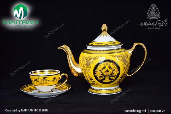 Bộ trà 0.8L Thiên Hương màu vàng