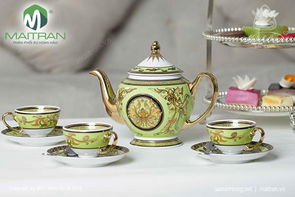 Bộ trà 0.8L Thiên Hương màu xanh lá