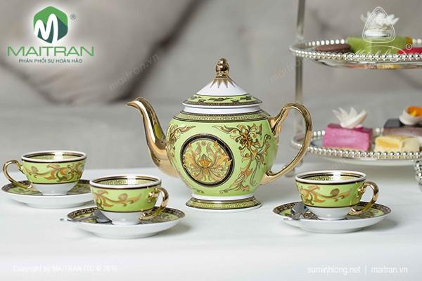 Bộ trà gốm sứ Minh Long Bộ trà 0.8L Thiên Hương màu xanh lá