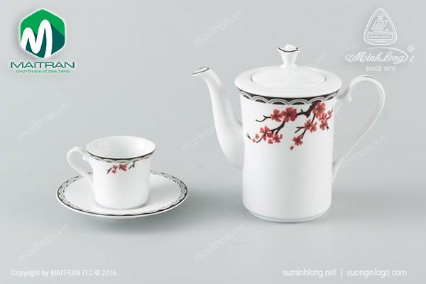 Bộ trà gốm sứ Minh Long Bộ trà  0.47L Tulip Duyên Xuân