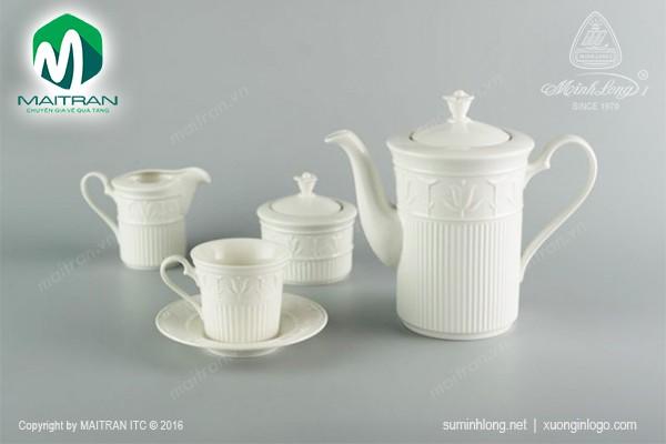 Bộ trà gốm sứ Minh Long Bộ trà Tulip nổi trắng 1.25L
