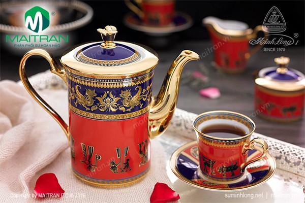 Bộ trà gốm sứ Minh Long Bộ trà  0.8L Tulip Trống Đồng