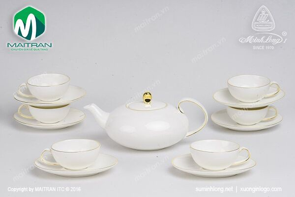 Bộ trà gốm sứ Minh Long Bộ trà 0.47L Elip Anna chỉ vàng