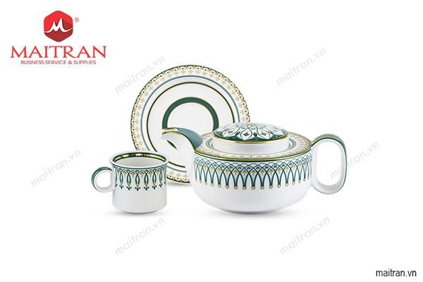 Bộ trà gốm sứ Minh Long Bộ trà 0.38 L Gastroline Đồng Tâm XL