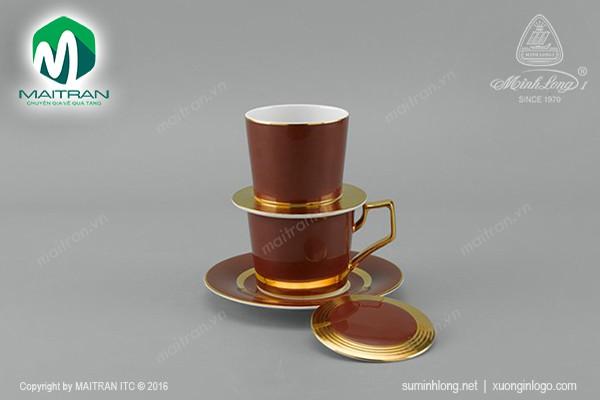 Ca gốm sứ Minh Long Bộ lọc cà phê Mạ Vàng