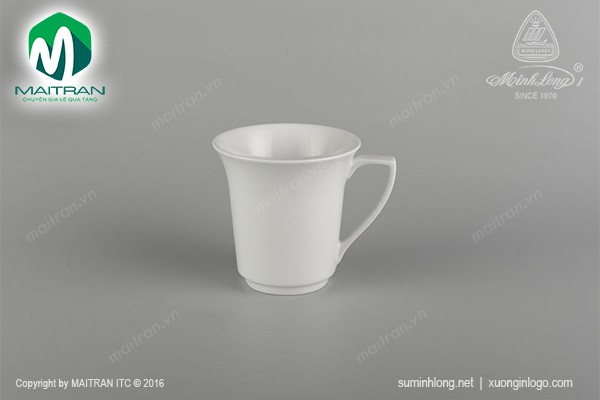 Ca gốm sứ Minh Long Ca Tulip trắng (quai số 7) 0.35 L
