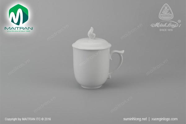 Ca gốm sứ Minh Long Ca trà 0.3L Mẫu Đơn trắng