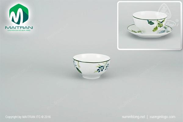 Chén gốm sứ Minh Long Chén Camellia Lá Xanh 12 cm