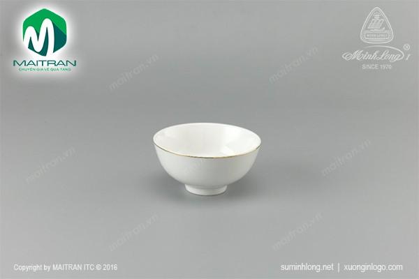 Chén gốm sứ Minh Long Chén Jasmine viền chỉ vàng 11 cm