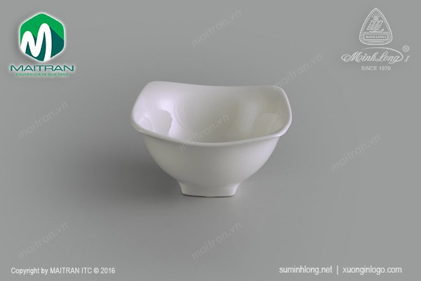 Ly's Horeca gốm sứ Minh Long Chén vuông 12cm Jasmine trắng ngà